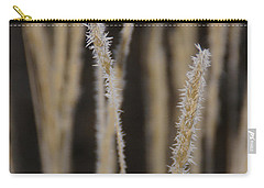 Carry-all Pouch featuring the photograph Ice Crystals On Tall Grass by Mick Anderson