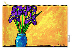 Iris On Yellow Carry-all Pouch