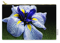 Japanese Iris Ensata - Botanical Wall Art Carry-all Pouch by Carol F Austin