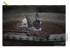 Carry-all Pouch featuring the digital art Junco In The Birdbath by Carol Ailles
