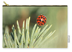 Carry-all Pouch featuring the photograph Lady Beetle On A Needle by Penny Meyers
