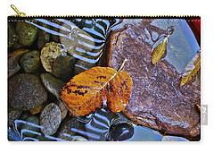 Carry-all Pouch featuring the photograph Leaves Rocks Shadows by Bill Owen