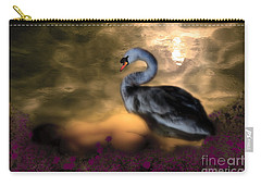 Carry-all Pouch featuring the digital art Leda And The Swan by Rosa Cobos