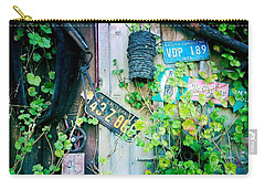 Carry-all Pouch featuring the photograph License Plate Wall by Nina Prommer