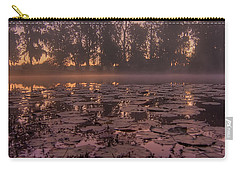 Carry-all Pouch featuring the photograph Lily Pads In The Fog by Dan Wells