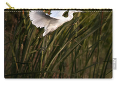 Carry-all Pouch featuring the photograph Little Blue Heron On Approach by Steven Sparks