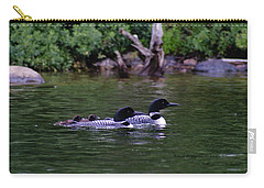 Loons With Twins 2 Carry-all Pouch by Steven Clipperton