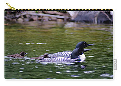 Loons With Twins 3 Carry-all Pouch by Steven Clipperton