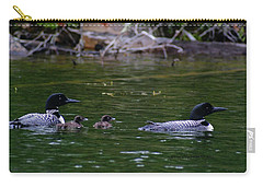 Loons With Twins Carry-all Pouch by Steven Clipperton