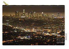 Los Angeles  City View At Night  Carry-all Pouch by Bob Christopher