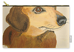 Carry-all Pouch featuring the painting Lovable Dachshund by Norm Starks