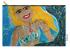Carry-all Pouch featuring the painting Maid With Golden Crab Bracelet by Mary Carol Williams