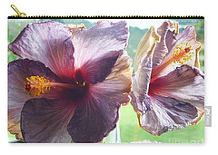 Mauve Hibiscus And Amethyst Carry-all Pouch