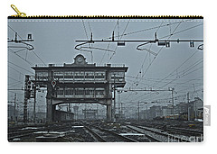 Carry-all Pouch featuring the photograph Milan Central Station Italy In The Fog by Andy Prendy