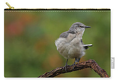 Carry-all Pouch featuring the photograph Mocking Bird Perched In The Wind by Daniel Reed