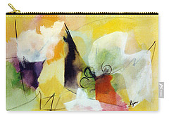 Modern Art With Yellow Black Red And Fanciful Clouds Carry-all Pouch