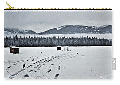 Carry-all Pouch featuring the photograph Montana Ice Fishing by Janie Johnson
