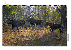 Moose Family Carry-all Pouch by Ronald Lutz