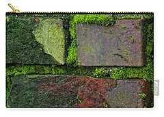 Carry-all Pouch featuring the digital art Mossy Brick Wall by Carol Ailles