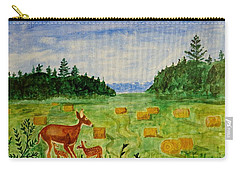 Carry-all Pouch featuring the painting Mother Deer And Kids by Sonali Gangane