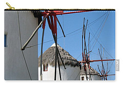 Carry-all Pouch featuring the photograph Mykonos Windmills by Carla Parris