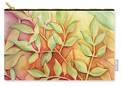 Carry-all Pouch featuring the painting Nandina Leaves by Carla Parris