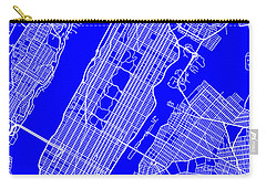 New York City Map Streets Art Print   Carry-all Pouch