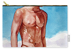Nude Male Blonde In Blue Speedo Carry-all Pouch
