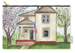Carry-all Pouch featuring the painting Ohio Cottage With Flag by Clara Sue Beym
