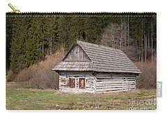 Carry-all Pouch featuring the photograph Old Log House by Les Palenik