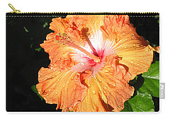 Orange Hibiscus After The Rain 1 Carry-all Pouch by Connie Fox