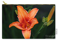 Carry-all Pouch featuring the photograph Orange Lily by Davandra Cribbie