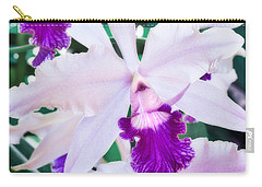 Carry-all Pouch featuring the photograph Orchids White And Purple by Steven Sparks