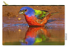 Carry-all Pouch featuring the photograph Painted Bunting Reflecting by Myrna Bradshaw