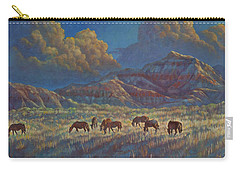 Carry-all Pouch featuring the painting Painted Desert Painted Horses by Rob Corsetti