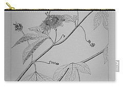 Carry-all Pouch featuring the drawing Passionflower Vine by Daniel Reed
