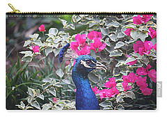 Carry-all Pouch featuring the photograph Peacock And Bouganvillas by Donna Smith