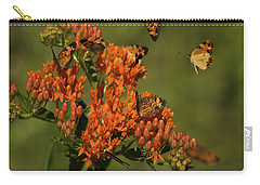 Carry-all Pouch featuring the photograph Pearly Crescentpot Butterflies Landing On Butterfly Milkweed by Daniel Reed