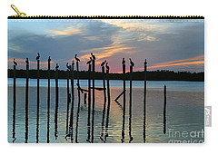 Carry-all Pouch featuring the photograph Pelican Resting End Of Day by Dan Friend