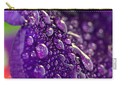 Carry-all Pouch featuring the photograph Petunia Raindrops by Suzanne Stout