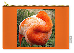 Carry-all Pouch featuring the photograph Pink Flamingo Sleep by Rebecca Margraf