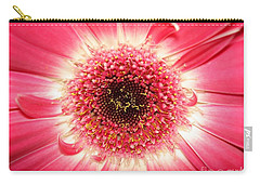 Carry-all Pouch featuring the photograph Pink Gerbera Daisy Close-up by Kerri Mortenson