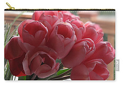 Carry-all Pouch featuring the photograph Pink Tulips In Vase by Katie Wing Vigil