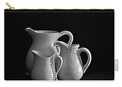 Carry-all Pouch featuring the photograph Pitchers By The Window In Black And White by Sherry Hallemeier