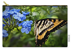 Carry-all Pouch featuring the photograph Plumbago And Swallowtail by Steven Sparks