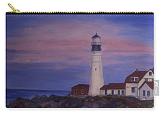 Carry-all Pouch featuring the painting Portland Head Lighthouse At Dawn by Julie Brugh Riffey