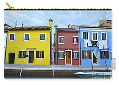 Carry-all Pouch featuring the photograph Primary Colors In Burano Italy by Rebecca Margraf