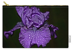 Purple Iris With Water Drops Carry-all Pouch