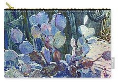 Carry-all Pouch featuring the painting Purple Opuntia by Donald Maier