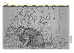 Carry-all Pouch featuring the drawing Rabbit In Woodland by Daniel Reed
